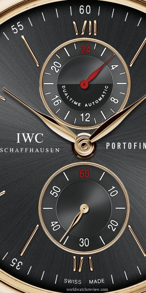 IWC Portofino Dual Time Automatic GMT Watch in Rose Gold Ref.IW361004 (dial, detail)