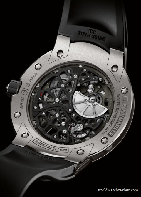 Richard Mille RM 033 Extra Flat Automatic Watch in Titanium (transparent case back)