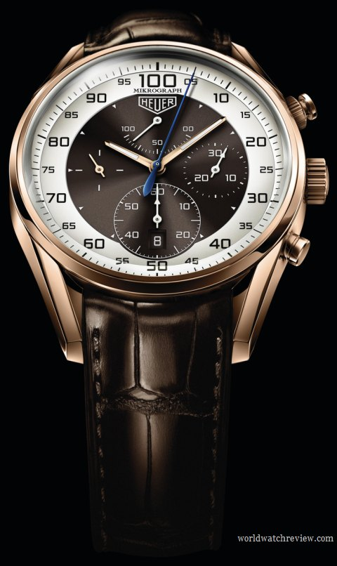 TAG Heuer Carrera Mikrograph Limited Edition automatic chronograph watch (front view)