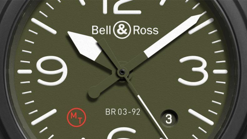 High-performance Black Bell & Ross BR03-92 Military type khaki Dial Copy Watch