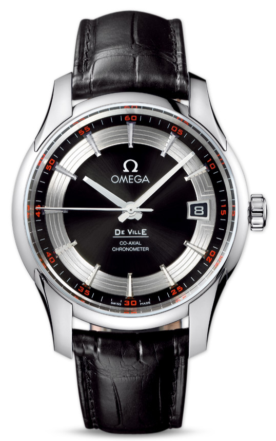 replica Omega Hour Vision Black Dial Black Strap Watch_