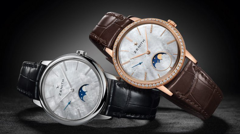 The Elegant Zenith Elite Ultra Thin Lady Moon Phase Alligator Strap Replica Watch