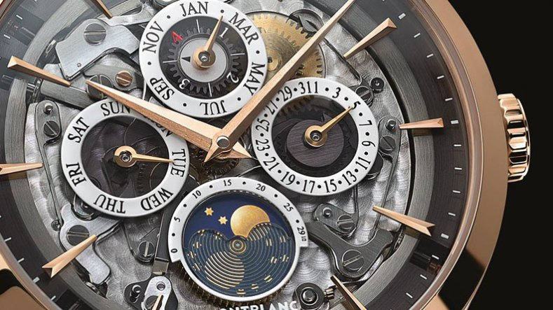 The Mechanism Montblanc Heritage Spirit Perpetual Calendar Transparent Replica Watch